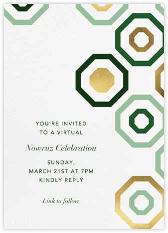 Octagons - Green/Gold - Paperless Post - Virtual Parties