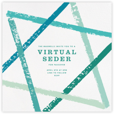 Brushstroke Star - Teal - Paperless Post - Passover invitations