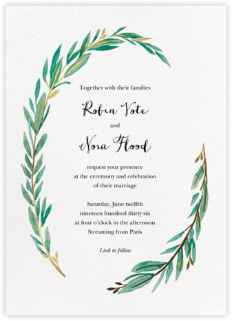 Olive Branch (Invitation) - Paper Source - Virtual Wedding Invitations