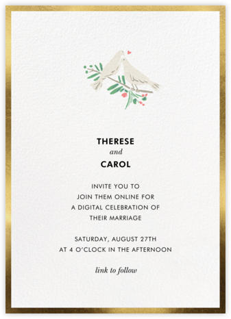 White Doves (Invitation) - kate spade new york - Virtual Wedding Invitations
