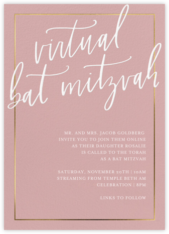 Sprawling Script (Virtual) - Pink - Sugar Paper - Birthday invitations