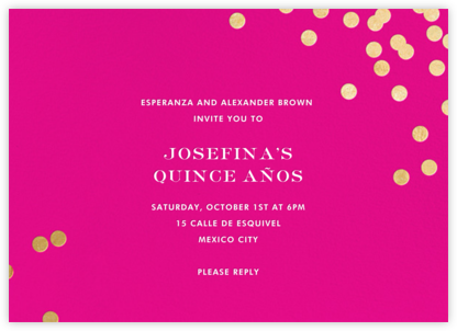Confetti - Bright Pink/Gold - kate spade new york - Quinceañera Invitations