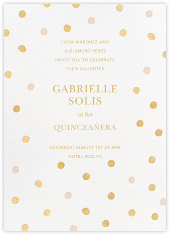 Painted Spots - Gold/Pink - Sugar Paper - Birthday invitations