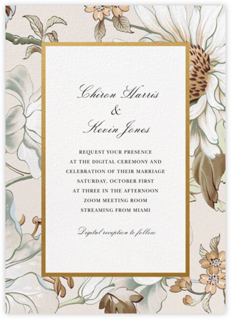Painted Flowers (Invitation) - Cream - Oscar de la Renta - Virtual Wedding Invitations
