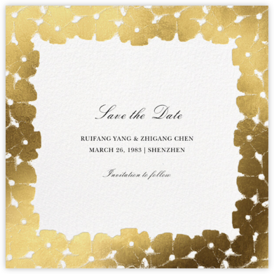 Painted Blooms - Gold - Oscar de la Renta - Save the dates