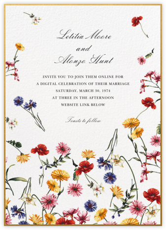 Floating Floral (Invitation) - Oscar de la Renta - Virtual Wedding Invitations