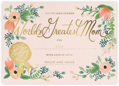 Greatest Mom Certificate - Rifle Paper Co. -