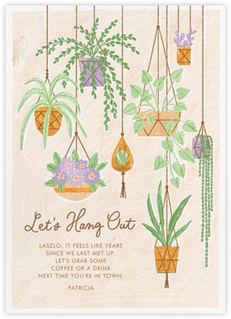 Hanging Plants - Paperless Post - Just Because Cards