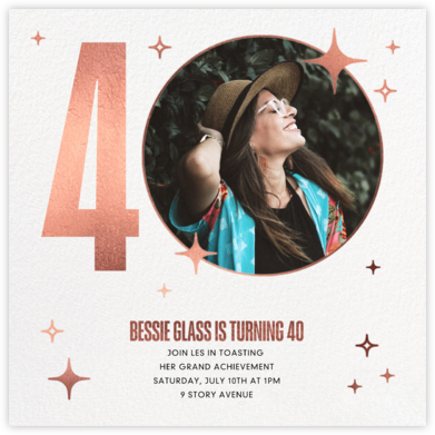 Milestone Moment - Rose Gold - Paperless Post - Adult Birthday Invitations