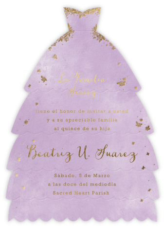 Hermoso Vestido - Lilac - Paperless Post - Quinceañera Invitations
