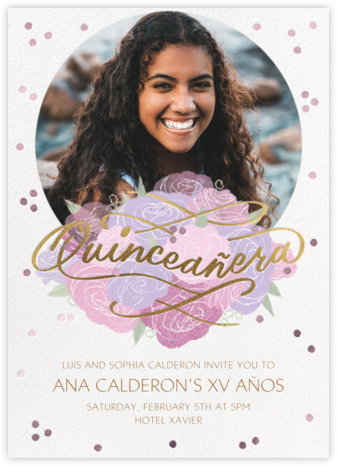 Shimmering Blooms Photo - Paperless Post - Quinceañera Invitations