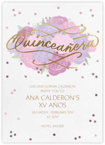 Shimmering Blooms - Paperless Post - Quinceañera Invitations