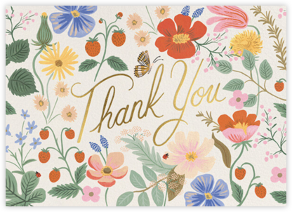 Strawberry Fields Thank You - Rifle Paper Co. - Online Thank You Cards