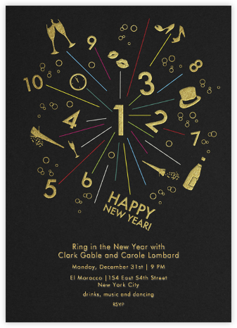 Sparkler - Black - Paperless Post - New Year's Eve Invitations