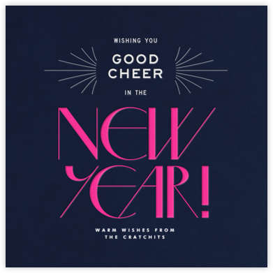 Good Cheer - Navy - Paperless Post - New Year Cards