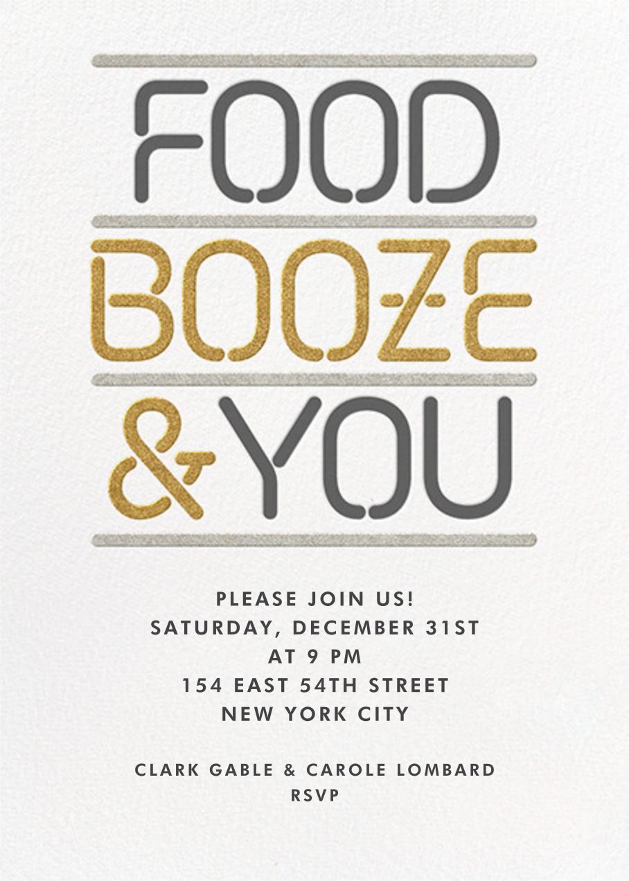 Food Booze and You - Paperless Post - New Year's Eve