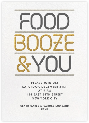 Food Booze and You - Paperless Post - New Year's Eve Invitations