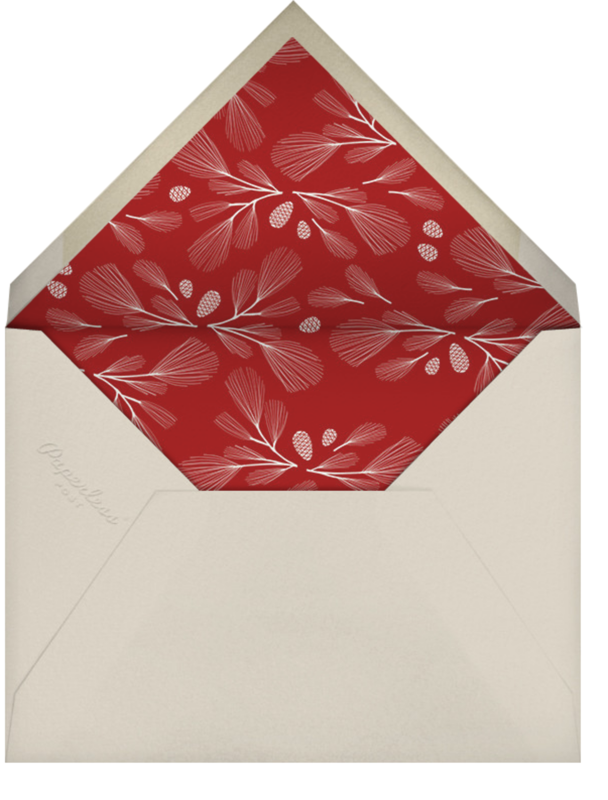 Winter Pine Square - Red - Paperless Post - Christmas - envelope back