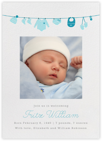 Onesie Photo - Light Blue - Paperless Post - Birth Announcements