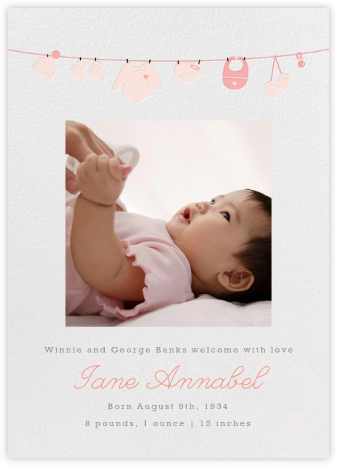 Onesie Photo (Photo) - Pink - Paperless Post - Birth announcements