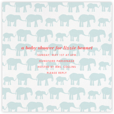 Elephants - Linda and Harriett - Elephant Baby Shower Invitations