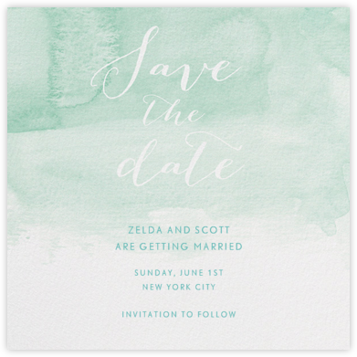 Color Wash (Save the Date) - Persian Green - Paperless Post - Save the dates