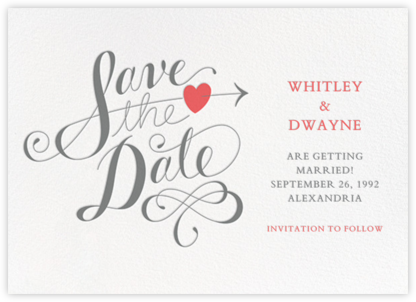 Script Heart - White/Gray - Paperless Post - Save the dates