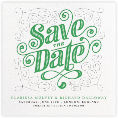 Mercer (Save the Date) - Emerald - Paperless Post - Save the dates