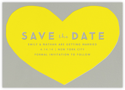 Heart Save the Date - Yellow Gray | null