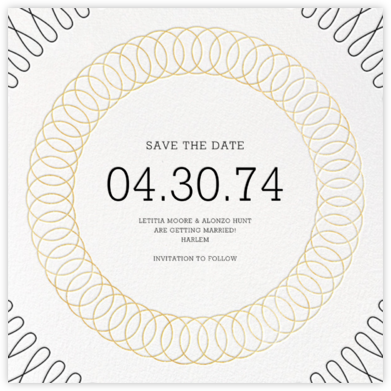 Spirals (Save the Date) - Gold - Paperless Post - Save the dates