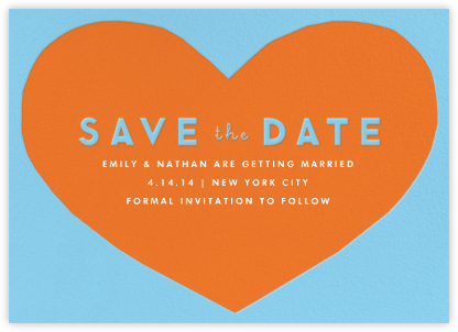 Heart Save the Date - Blue Orange | null