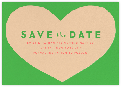 Heart Save the Date - Green Pink | null