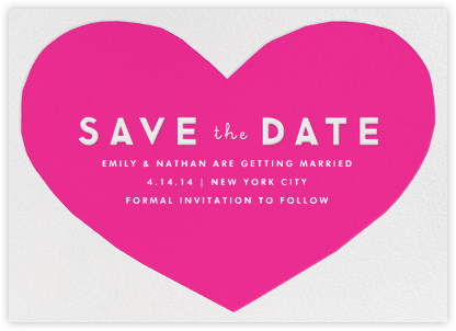Heart Save the Date - Pink - The Indigo Bunting - Indigo Bunting