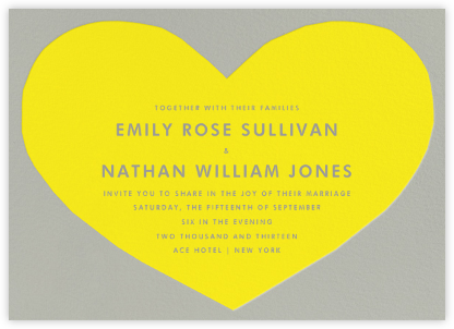 Heart - Yellow Gray - The Indigo Bunting - Wedding Invitations