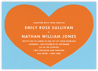 Heart - Blue Orange - The Indigo Bunting - Wedding Invitations