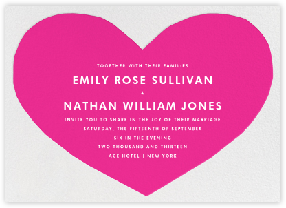 Heart - Pink - The Indigo Bunting - Wedding Invitations