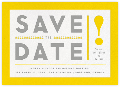 Bold Line (Save the Date) - Yellow - The Indigo Bunting - Save the dates