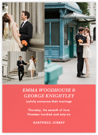 Split Screen Triad - Coral - Paperless Post - Wedding Announcements