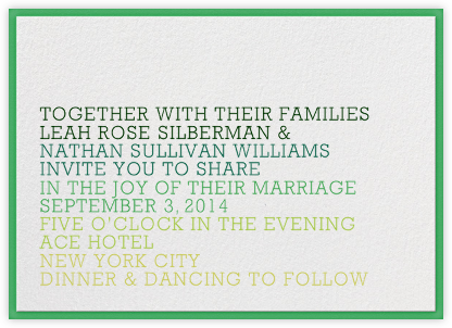 Ombre - Green - The Indigo Bunting - Modern wedding invitations