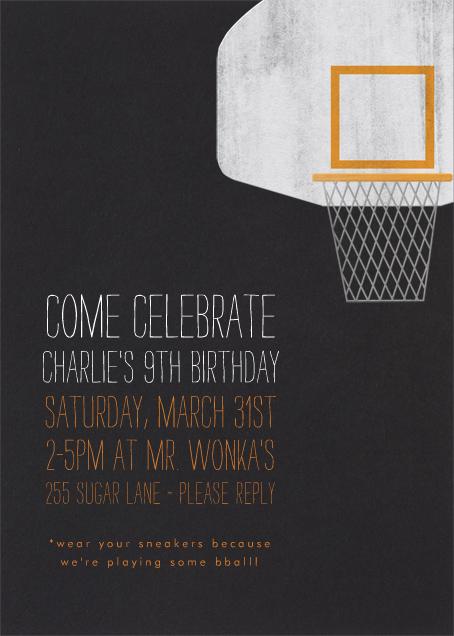 Basketball Hoop - Paperless Post - Kids' birthday invitations