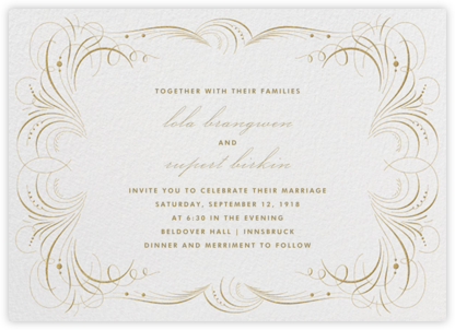 Gold Flourish - Ivory - The Indigo Bunting - Printable Invitations
