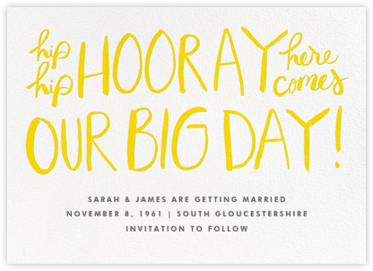 Hip Hip Hooray - Yellow - Linda and Harriett - Save the dates