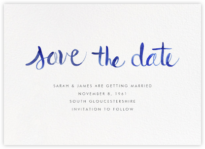 Watercolor Lettering - Blue - Linda and Harriett - Save the date cards and templates