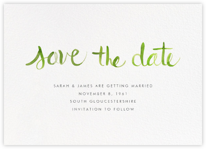 Watercolor Lettering - Green - Linda and Harriett - Save the dates