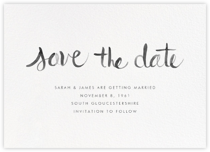 Watercolor Lettering - Black - Linda and Harriett - Classic save the dates