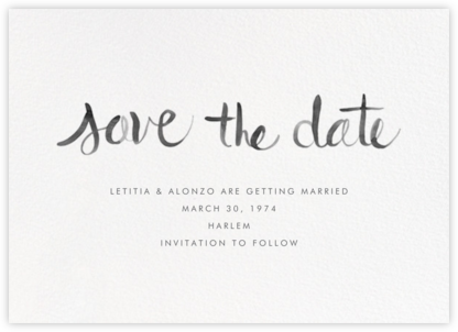 Watercolor Lettering - Black - Linda and Harriett - Save the dates