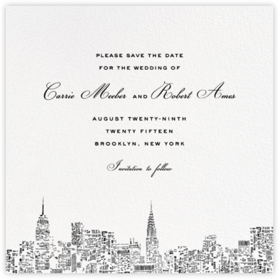 City Lights II (Save the Date) - White/Black - kate spade new york - Save the date cards and templates