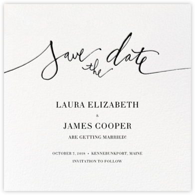 Save the Date - Black - Linda and Harriett - Online Party Invitations