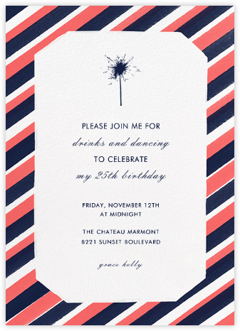 Diagonal Stripe Tall - Coral and Navy - Paperless Post - Adult birthday invitations