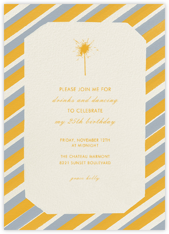 Diagonal Stripe Tall - Cream Mango Pacific - Paperless Post - Adult Birthday Invitations